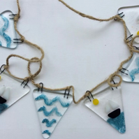 Fused Glass Sailing Boat And Sea Bunting