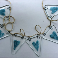 Fused Glass Bunting Blue Heart Design
