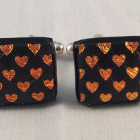 Fused Dichroic Glass Red Heart Design Cufflinks