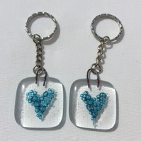 Fused Glass Handmade Blue Heart Keyring Keychain Charm Gift Love Token
