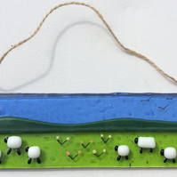 Fused Glass Picture Suncatcher Sheep Summer Field Design