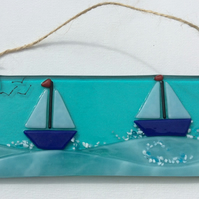 Fused glass picture sailing boats and surf Suncatch Summer Seaside Gift