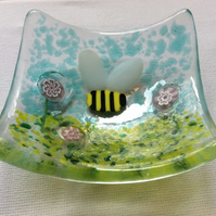 Fused Glass Bumble Bee Trinket Dish Earring Bowl Handmade Unique Gift