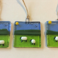 Fused Glass Sheep and Spring Lamb Sun Catcher Picture Hanging Handmade Gift
