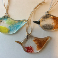 Fused Glass British Birds Robin Sparrow Blue Tit Set Handmade Gift
