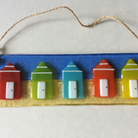 Fused Glass Beach Hut Sun Catcher Hanging Picture Handmade Gift