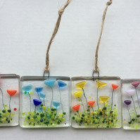 Fused Glass Flowers Mother's Day Gift Set Handmade Sun Cathcher