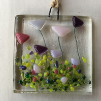 Fused Glass Pink Purple Flowers Gift Set Handmade Sun Light Catcher Wall Hanging