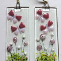 Fused Glass Pink ButterflyAnd Flowers Small Hanging Decoration Sun Catcher Gifts