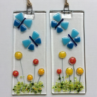 Fused Glass Blue ButterflyAnd Flowers Small Hanging Decoration Sun Catcher Gifts