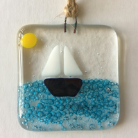 Fused Glass Handmade Blue Sailing Boat Summer Sun Light Catcher Gift Decoration
