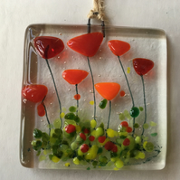 Fused Glass Red Flowers Handmade Sun Light Catcher Wall Hanging Anniversary Gift