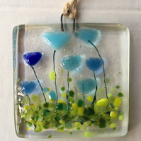 Fused Glass Blue Flowers Handmade Sun Light Catcher Wall Hanging Gift