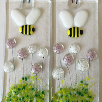 Fused Glass Bumblebee With Pink & White Flowers Decoration Bee Suncatcher