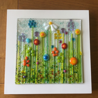 Handmade Fused Glass Daisy Wild Flower Meadow Picture  Mother's Day Gift