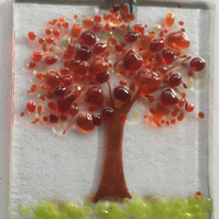 Fused glass Autumn tree suncatcher fall picture hanging gift decoration