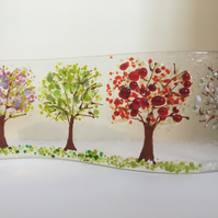 Handmade Fused Glass Four Seasons Trees Freestanding Picture Gift Spring Blossom