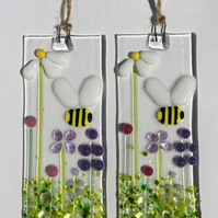 Fused Glass Bumblebee Daisy and Pink Flowers Decoration Suncatcher Bee Gift