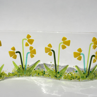 Handmade Fused Glass Daffodils Freestanding Wave Picture Daffodil Ornament Gift