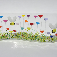 Fused Glass Bumblebee Wild Flower Meadow Freestanding Picture Ornament Bee Gift