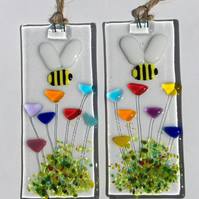Fused Glass Bumblebee And Flowers Hanging Decoration Suncatcher Bee Gifts