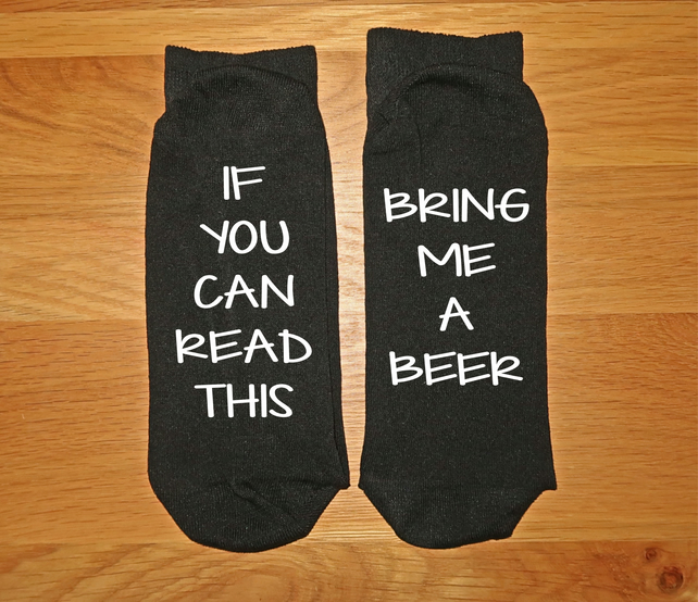 Bring Me A Beer Men's Socks UK 6-11 Funny If You Can Read This Gift Brother Dad