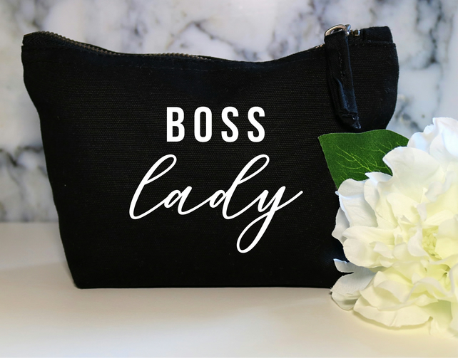 Boss Lady Funny Cotton Canvas Make Up Bag Pouch BFF Sister Wife Cosmetic Zip