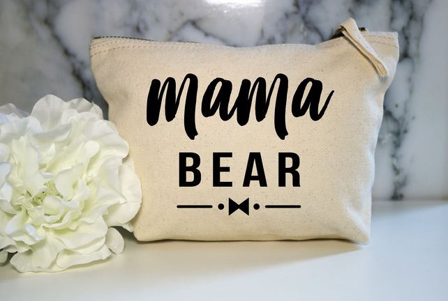 Mama Bear Cotton Canvas Make Up Bag Pouch BFF Mum Wife Cosmetic Zip Mummy