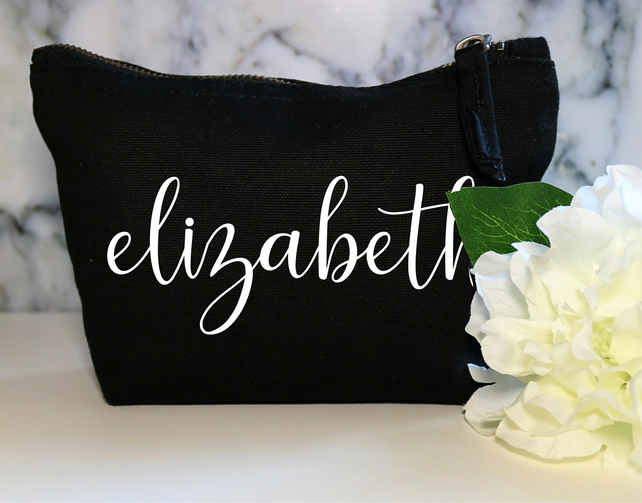 Personalised Name Cotton Canvas Make Up Bag Pouch Wife Cosmetic Daughter Bidal