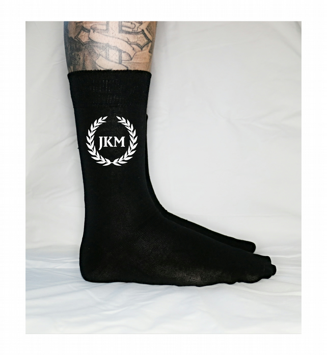 Personalised Wreath Initial Socks Name Men's Socks UK 6-11 Wedding Socks Groom