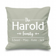 Personalised Family Names Cushion Cover Gift Home Couple Mum Dad Nan Friend