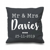 Personalised Mr & Mrs Cushion Cover Gift Home Couple Wedding Anniversary Date