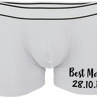 Men's Personalised Best Man Date Boxer Shorts Pants Underwear Wedding Day Gift