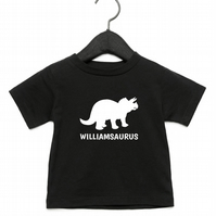 Personalised Dinosaur Baby Kids Children Child T-Shirt Triceratops Name Son Baby