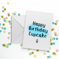 Happy Birthday Cupcake Blue Greetings Card Funny Succulent Cute Sister Daughter