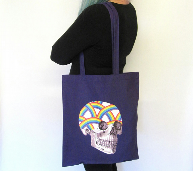 Rainbow Skull Purple Tote Bag
