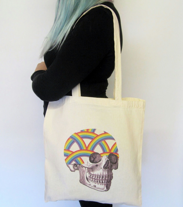 Rainbow Skull Natural Tote Bag