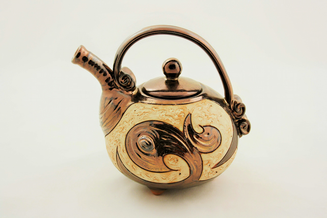 Ceramic Teapot 20oz,Handmade teapot 600ml,Valentine's day pottery teapot, Art
