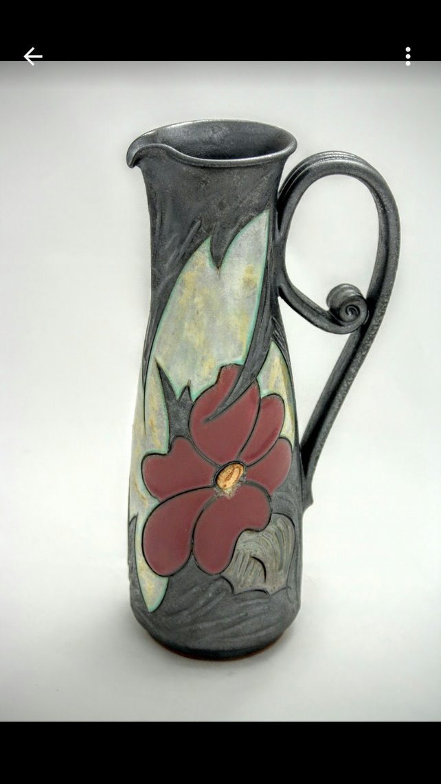 Flower Carafe 25oz, Handmade Wine Jug , Water jug, Quirky Ceramic Jug