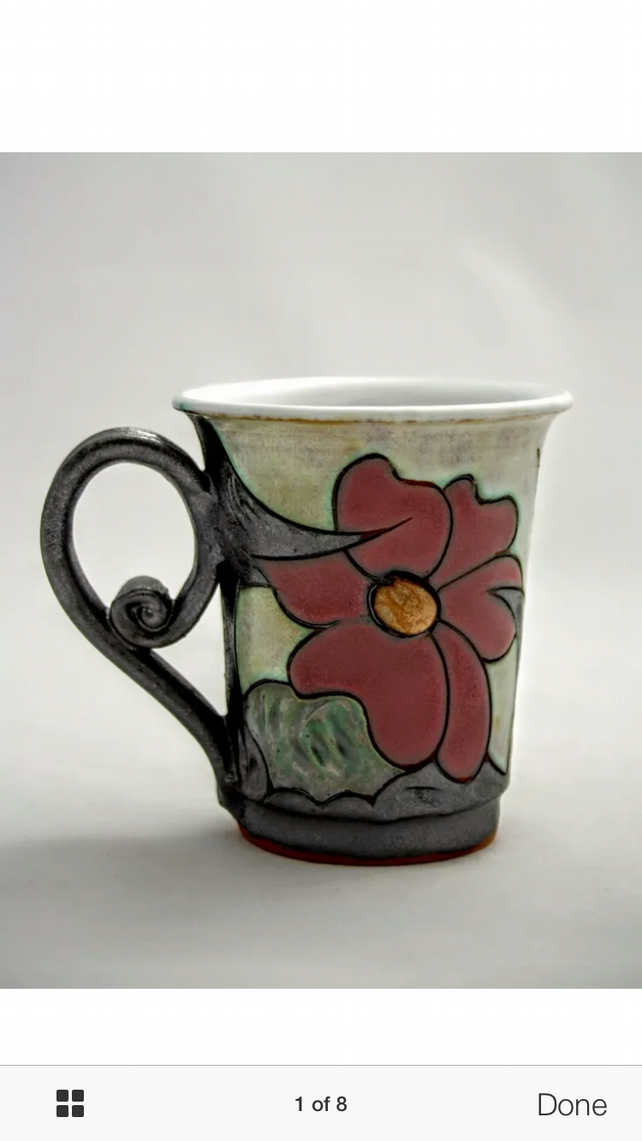 Flower Ceramic mug 9oz,Handcrafted Teacup, Stoneware mug-250ml