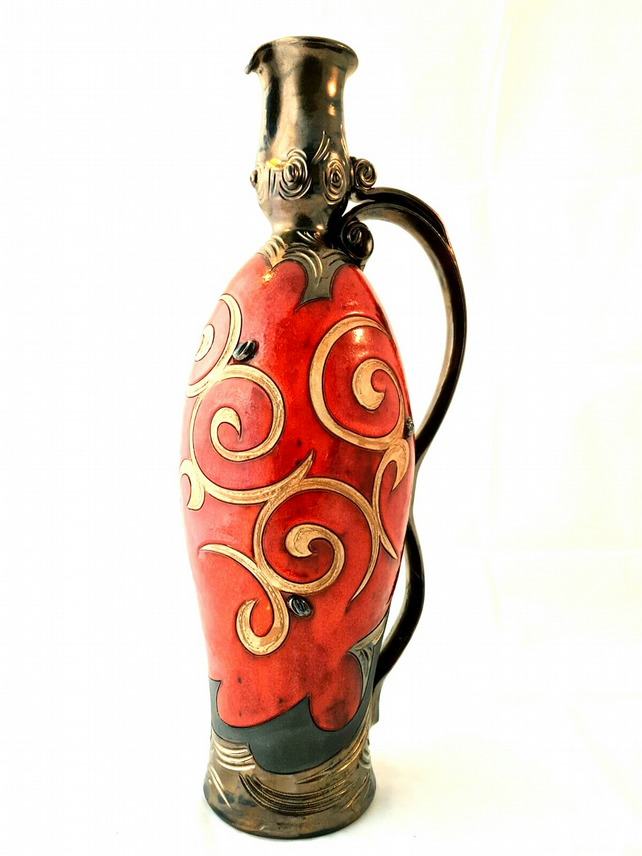 Unique Tall Wine Jug, Ancient Greek amphora inspired ceramic vessel