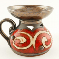 Red Handmade Aroma oil burner, Essential oil pottery burner, Unique oil warmer,