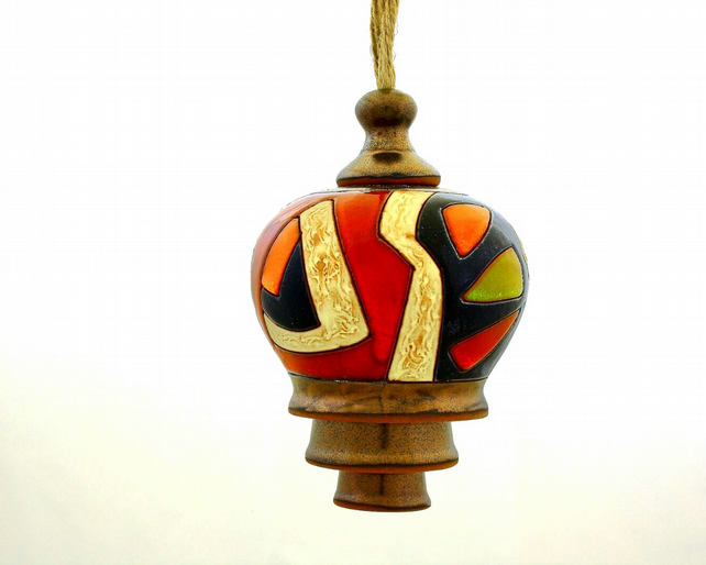 Handmade ringing bell,Art pottery bell, Christmas bell,Door decoration bell