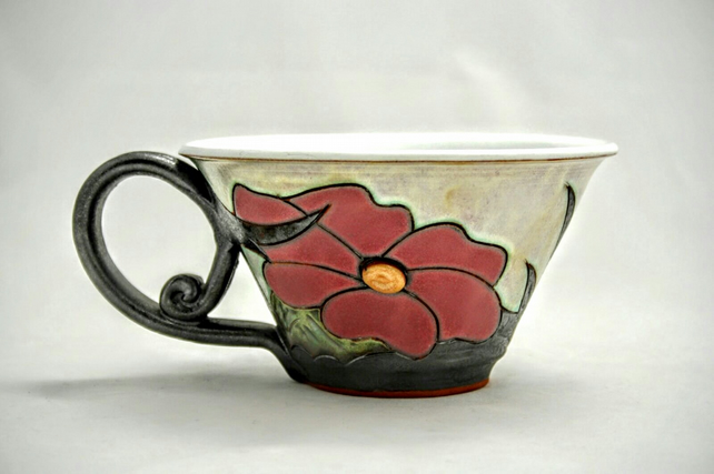 Ceramic Soup Cup, Wheel thrown earthenware bowl, breakfast bowl with han