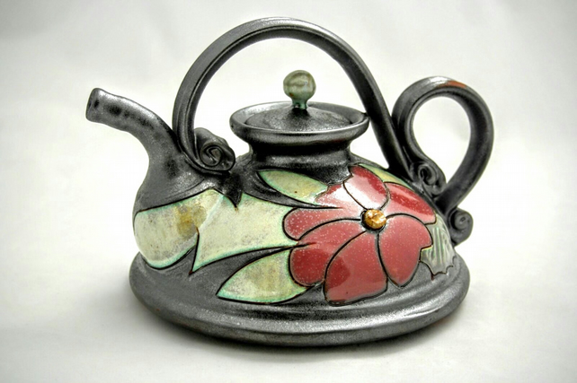 20 oz Ceramic handmade teapot, Art pottery teapot, Unique quirky teapot, Flower