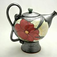 40 oz Ceramic Teapot, Handamde pottery teapot, Big teapot, Flower teapot