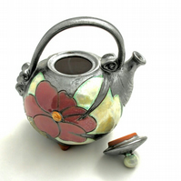 17 oz One man teapot, Cute little teapot,Handamde teapot, Ceramic teapot,
