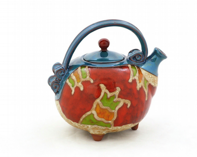 42 oz Ceramic handmade Teapot,Art Pottery, Unique quirky teapot, Valentine gift