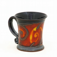 Espresso Cup Ceramic 4.4 oz , Red &Black Espresso mug, Handmade coffee mug