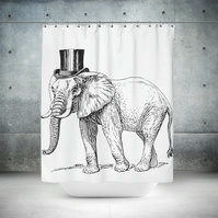 Top Hat Elephant Shower Curtain